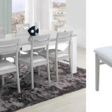 Sala de Jantar LOURINI Viena Cinza/Branco
